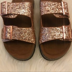 04a4d6e2f248 ShopBossyJocey Shoes - 🆕 Rose Gold Glitter Double Strap Footbed Sandals